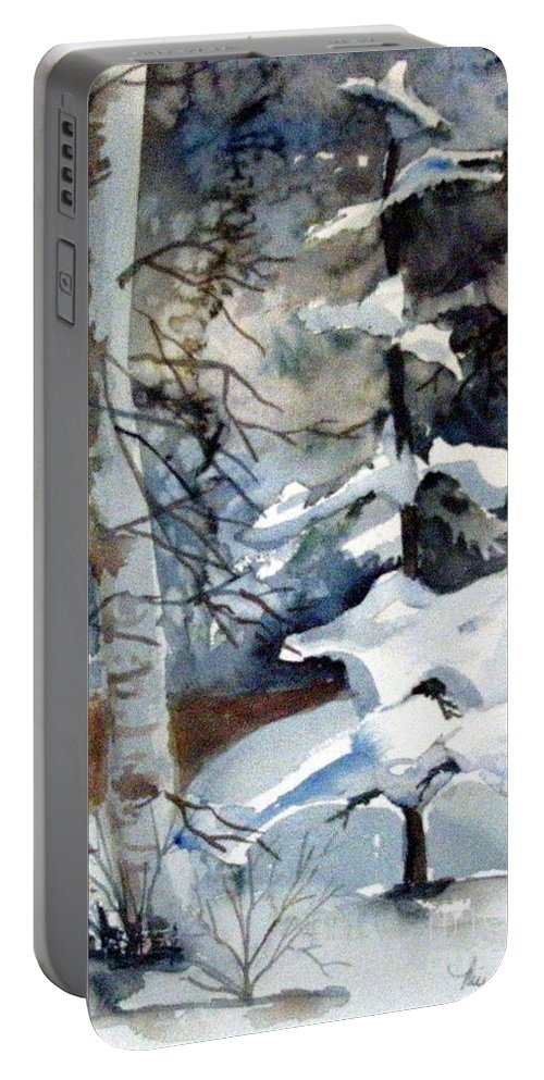 Christmas Trees Portable Battery Charger featuring the painting Christmas Trees by Mindy Newman