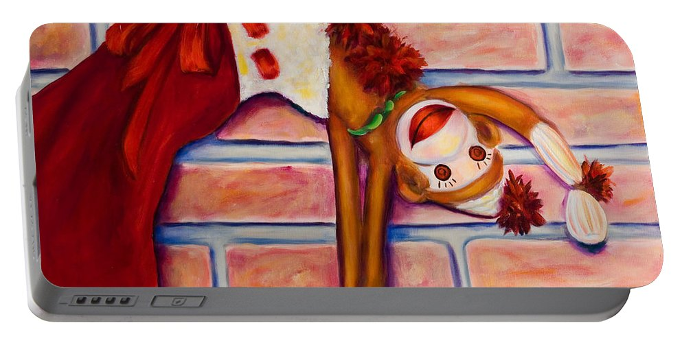 Sock Monkey Portable Battery Charger featuring the painting Christmas With Care by Shannon Grissom