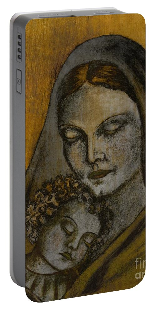 Madonna Portable Battery Charger featuring the painting Christmastime by Issabild -