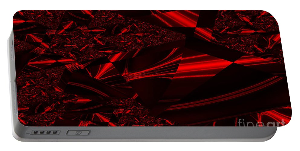 Clay Portable Battery Charger featuring the digital art Chrome In Red by Clayton Bruster
