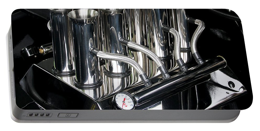 Metal Portable Battery Charger featuring the photograph Chromed Fuel Injection by Bob Slitzan