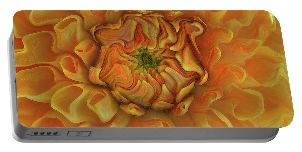 Abstract Portable Battery Charger featuring the photograph Chrysanthemum by Kathy Moll