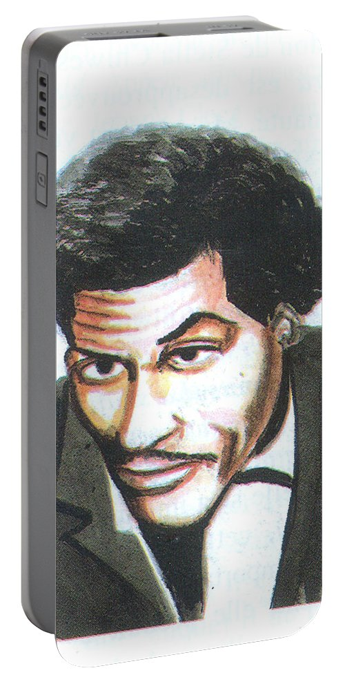 Music Portable Battery Charger featuring the painting Chuck Berry 45 by Emmanuel Baliyanga