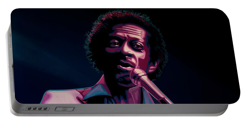 Chuck Berry Portable Battery Charger featuring the painting Chuck Berry by Paul Meijering