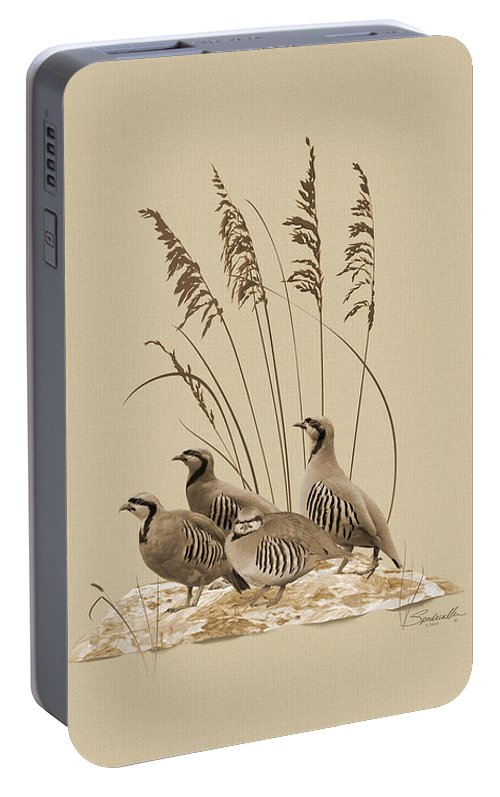 Partridge Portable Battery Charger featuring the digital art Chukar Partridges by M Spadecaller