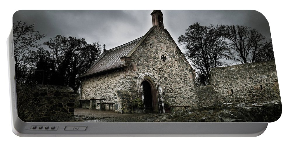 Castle Portable Battery Charger featuring the photograph Church At Castle Frankenstein by Jason Steele