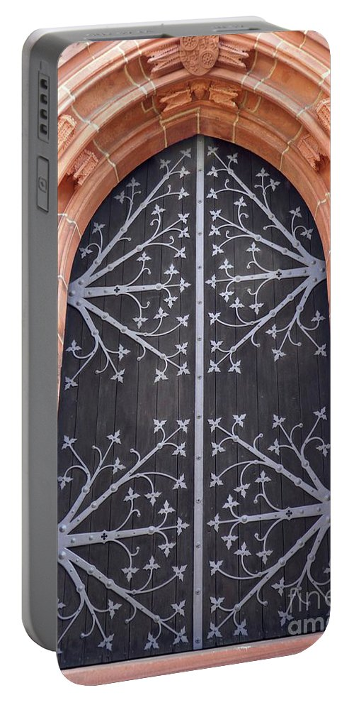 Door Portable Battery Charger featuring the photograph Church Door In Eltville by Sarah Loft