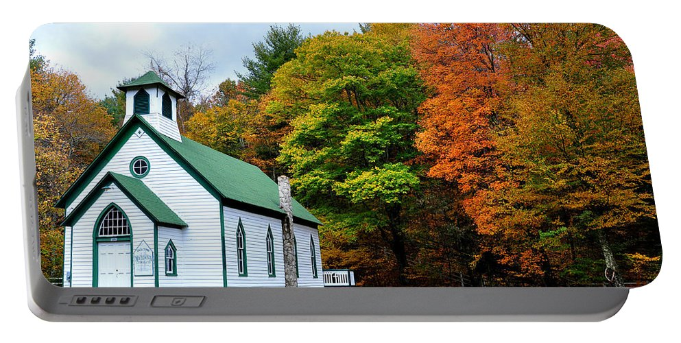 Autum Portable Battery Charger featuring the photograph Church In The Wildwood by Todd Hostetter