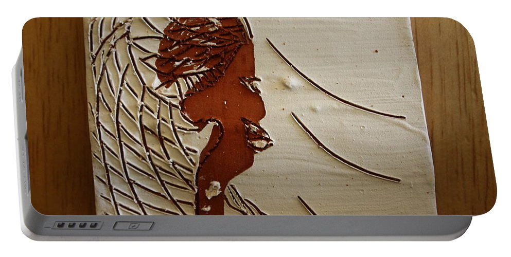 Jesus Portable Battery Charger featuring the ceramic art Church Lady 7 - Tile by Gloria Ssali
