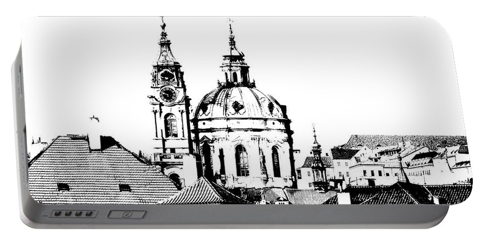 Prague Portable Battery Charger featuring the digital art Church Of St Nikolas by Michal Boubin