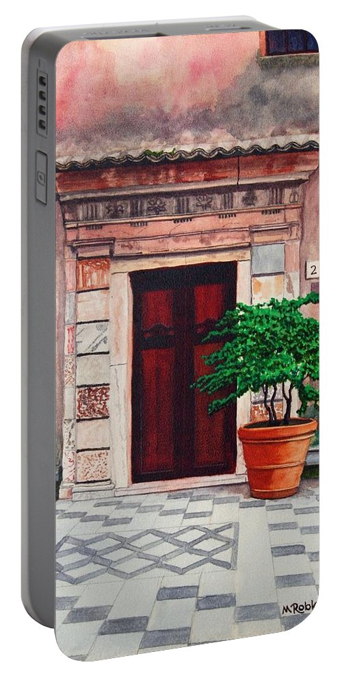 Church Portable Battery Charger featuring the painting Church Side Door - Taormina Sicily by Mike Robles