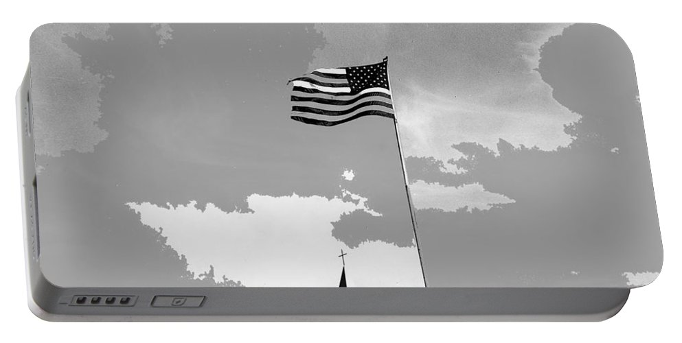 Church Steeple With Flag Tucson Arizona 1984 Portable Battery Charger featuring the photograph Church Steeple With Flag Tucson Arizona 1984-2016 by David Lee Guss