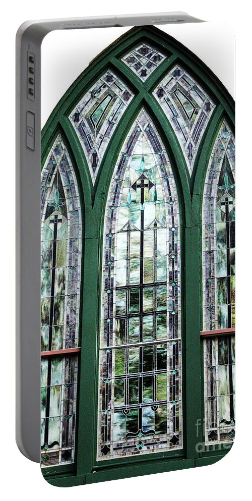 Window Portable Battery Charger featuring the photograph Church Window by Amanda Barcon
