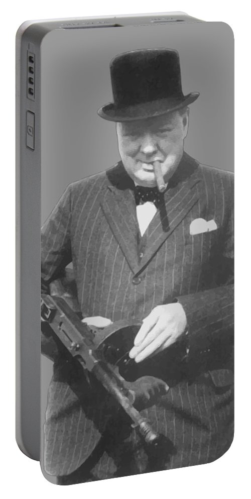 Winston Churchill Portable Battery Charger featuring the painting Churchill Posing With A Tommy Gun by War Is Hell Store