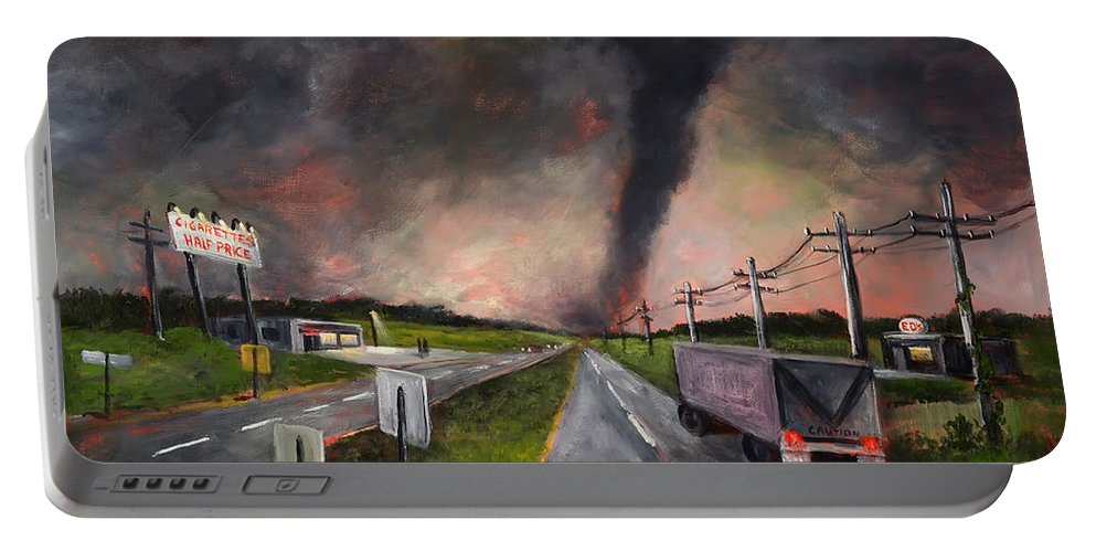 Tornado Portable Battery Charger featuring the painting Cigarettes Half Price by Randy Burns