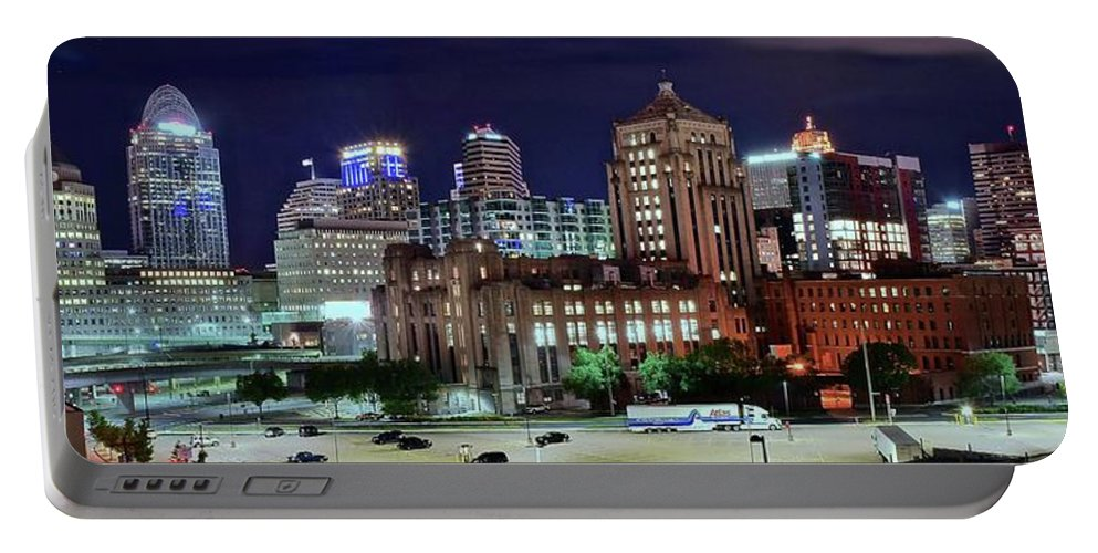 Cincinnati Portable Battery Charger featuring the photograph Cinci From The Opposite Side by Frozen in Time Fine Art Photography