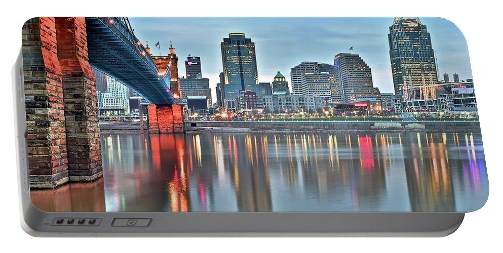 Cincinnati Portable Battery Charger featuring the photograph Cincinnati At Dusk by Frozen in Time Fine Art Photography