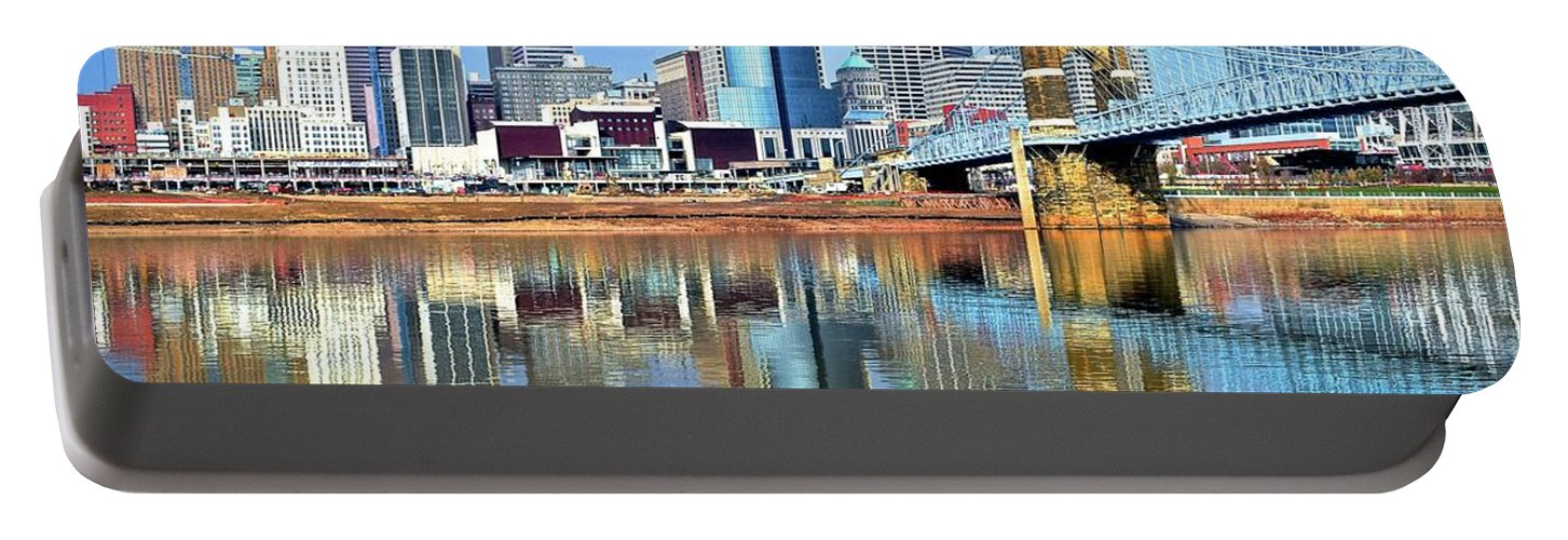 Cincinnati Portable Battery Charger featuring the photograph Cincinnati Ohio Times Two by Frozen in Time Fine Art Photography
