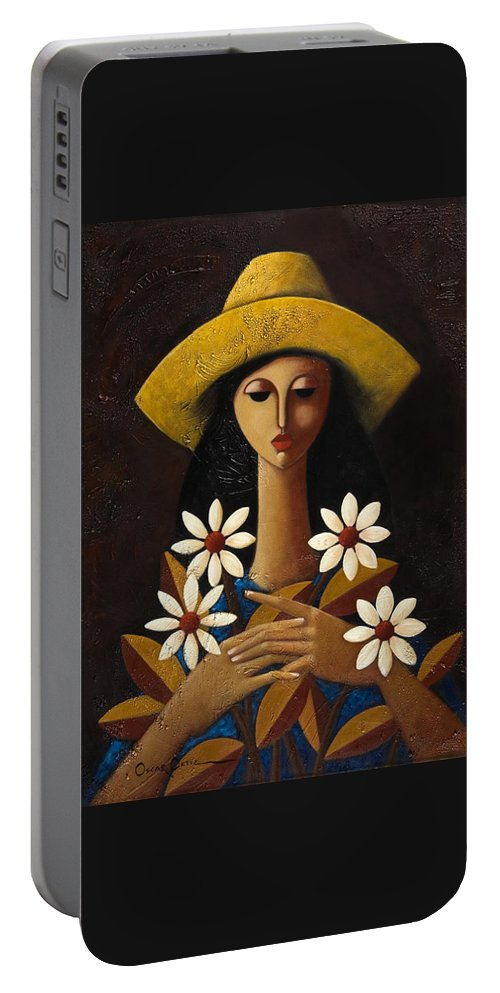 Puerto Rico Portable Battery Charger featuring the painting Cinco Margaritas by Oscar Ortiz