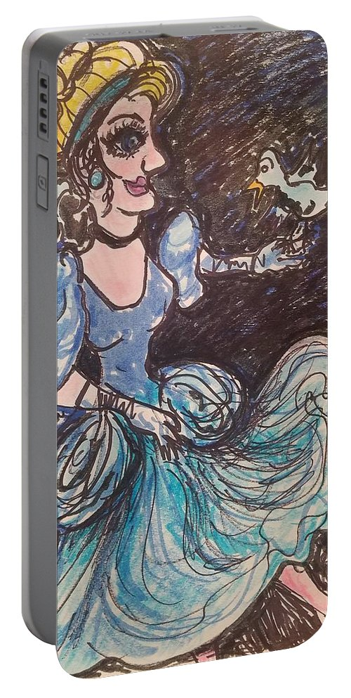 Cinderella Portable Battery Charger featuring the painting Cinderella by Geraldine Myszenski
