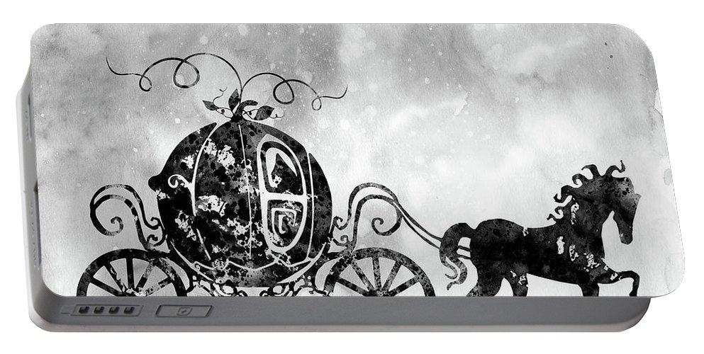 Cinderella's Carriage Portable Battery Charger featuring the digital art Cinderella's Carriage-black by Erzebet S