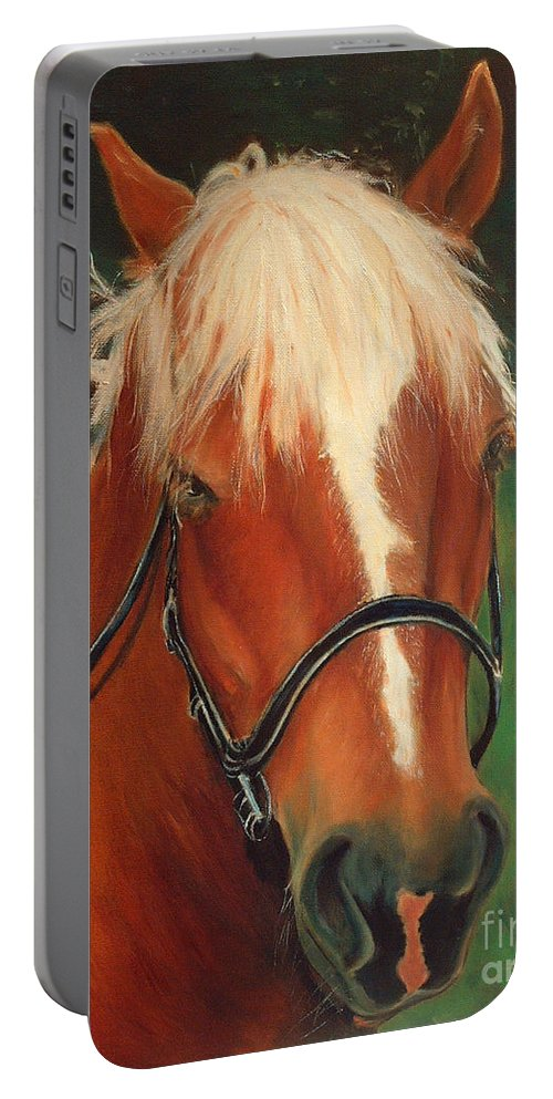 Euqestrian Art Portable Battery Charger featuring the painting Cinnamon The Horse by Portraits By NC
