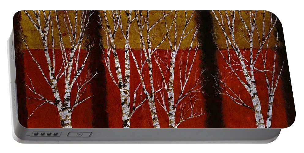 Birches Portable Battery Charger featuring the painting Cinque Betulle by Guido Borelli