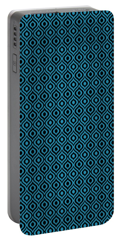 Ikat Portable Battery Charger featuring the digital art Circle And Oval Ikat In Black N18-p0100 by Custom Home Fashions