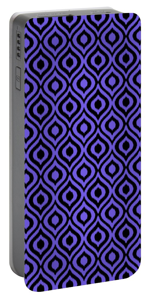 Ikat Portable Battery Charger featuring the digital art Circle And Oval Ikat In Black T09-p0100 by Custom Home Fashions