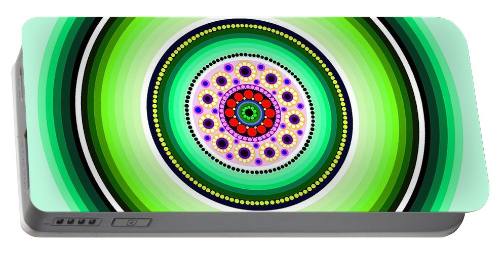 Art Portable Battery Charger featuring the painting Circle Motif 229 by John F Metcalf