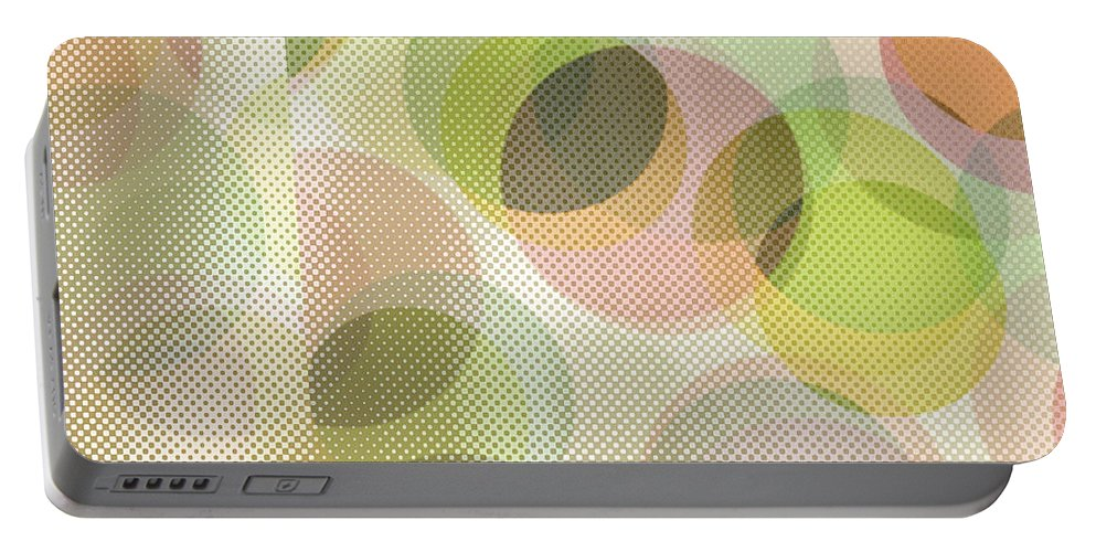 Abstract Portable Battery Charger featuring the digital art Circle Pattern Overlay by Ruth Palmer