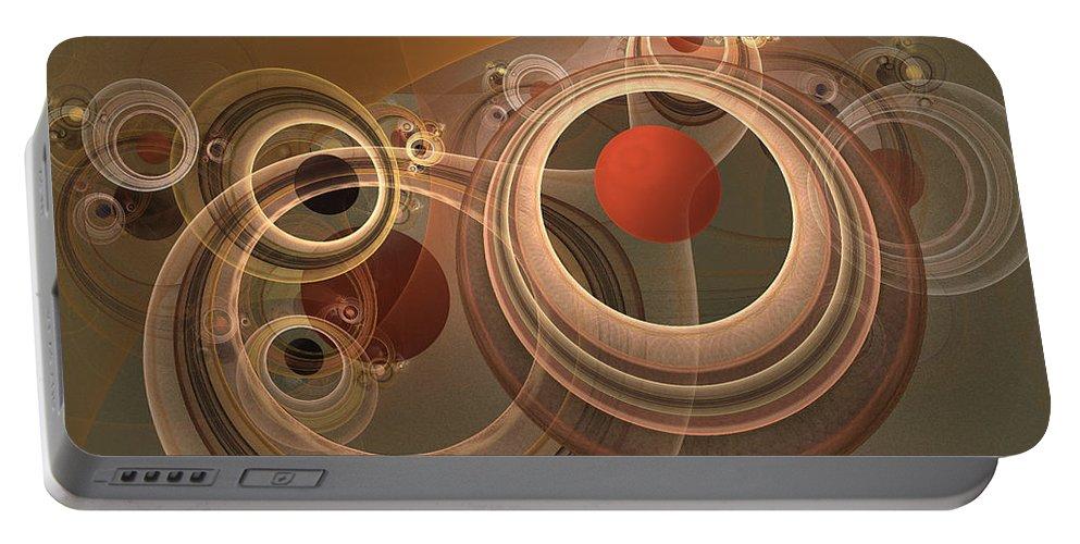 Digital Portable Battery Charger featuring the digital art Circles And Rings by Deborah Benoit