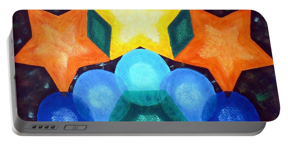 Shapes Portable Battery Charger featuring the painting Circles And Stars by Nancy Sisco