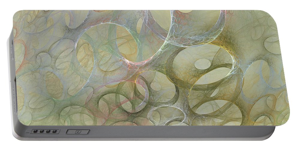 Fractal Portable Battery Charger featuring the digital art Circles In Circles by Deborah Benoit