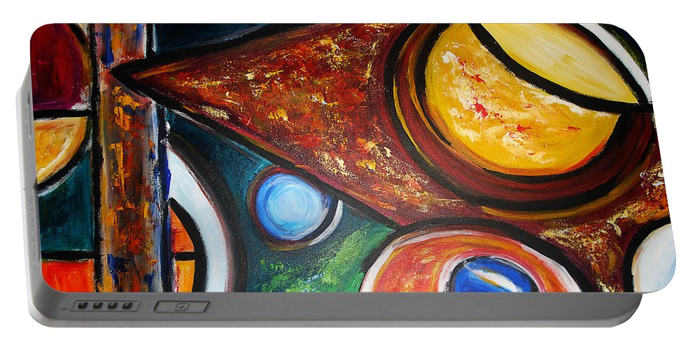 Abstract Painting Portable Battery Charger featuring the painting Circles Of Life by Yael VanGruber
