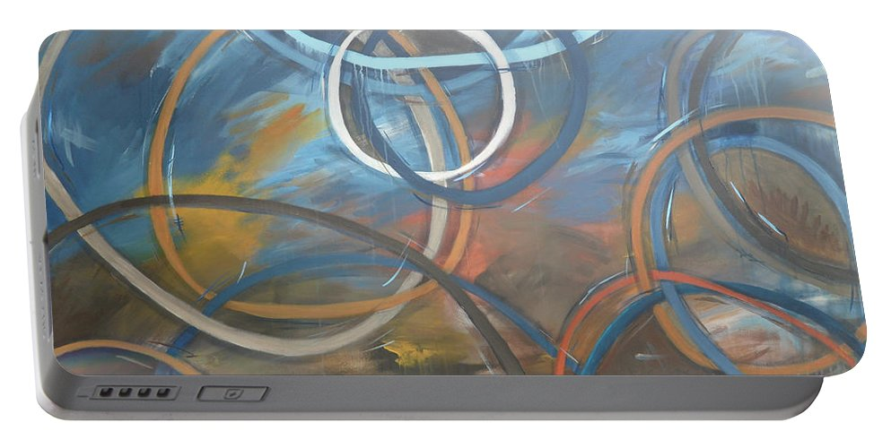 Circles Portable Battery Charger featuring the painting Circles by Travis Day