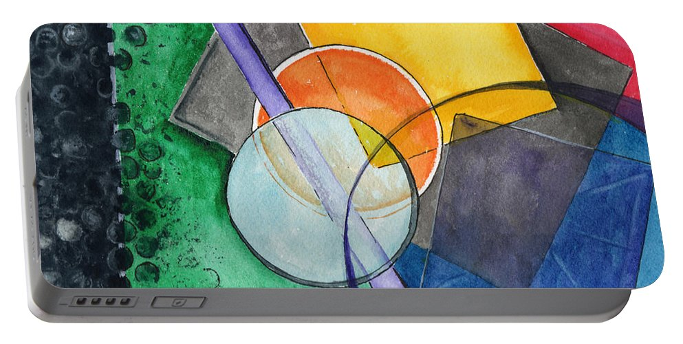 Watercolor Portable Battery Charger featuring the painting Circular Confusion by Brenda Owen
