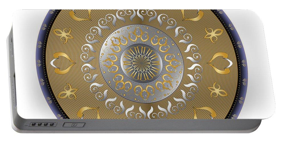 Mandala Portable Battery Charger featuring the digital art Circulosity No 2916 by Alan Bennington