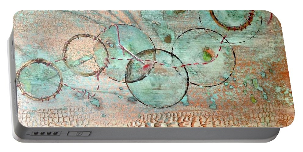 Abstract Portable Battery Charger featuring the painting Threads Of Possibility by T Fry-Green