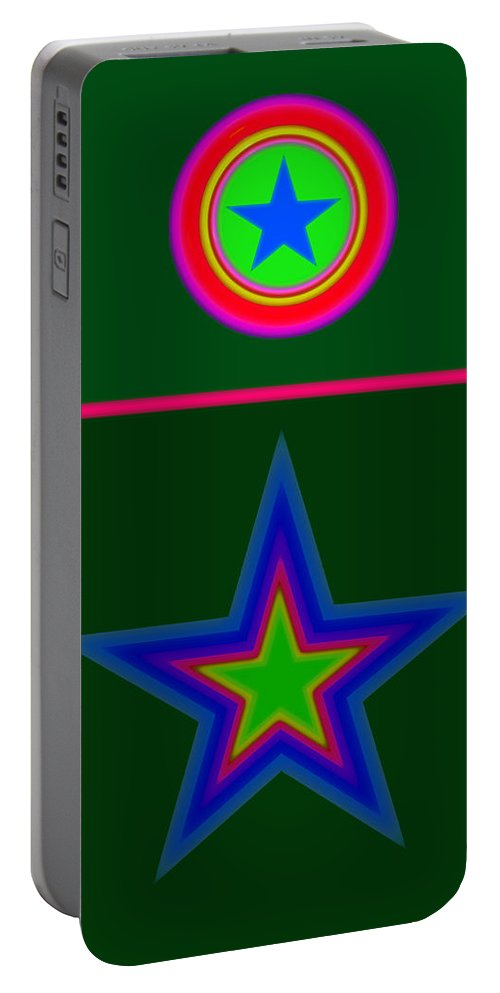 Circus Portable Battery Charger featuring the digital art Circus Green by Charles Stuart