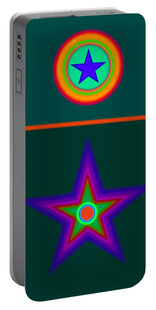 Circus Portable Battery Charger featuring the digital art Circus Vert by Charles Stuart