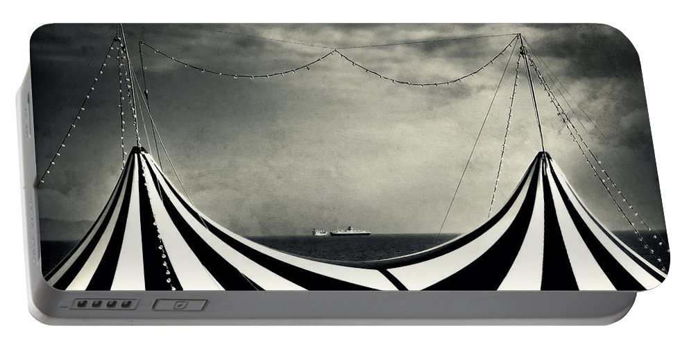 Split Toned Portable Battery Charger featuring the photograph Circus With Distant Ships by Silvia Ganora