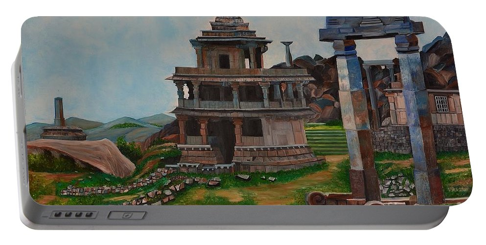 Landscape Portable Battery Charger featuring the painting Cithradurga Fort by Usha Rai