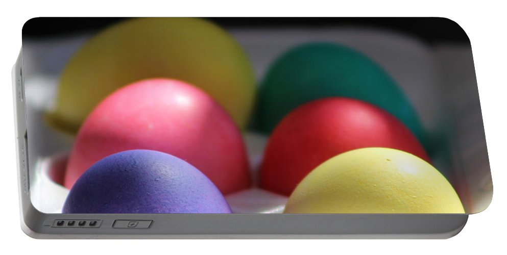 Dye Portable Battery Charger featuring the photograph Citrus and Ultra Violet Easter Eggs by Colleen Cornelius