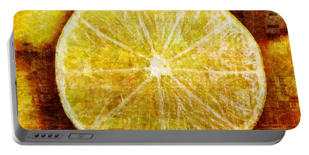 Lime Portable Battery Charger featuring the digital art Citrus by Barbara Berney