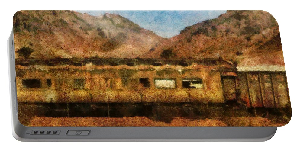 Savad Portable Battery Charger featuring the photograph City - Arizona - Desert Train by Mike Savad