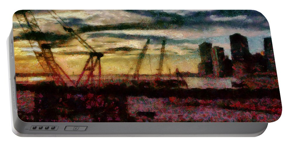 Savad Portable Battery Charger featuring the photograph City - Ny - Overlooking The Hudson by Mike Savad