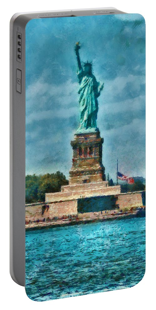 Savad Portable Battery Charger featuring the photograph City - Ny - The Statue Of Liberty by Mike Savad