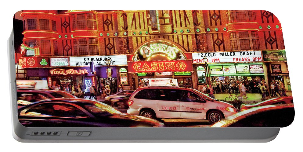 Savad Portable Battery Charger featuring the photograph City - Vegas - O'sheas Casino by Mike Savad