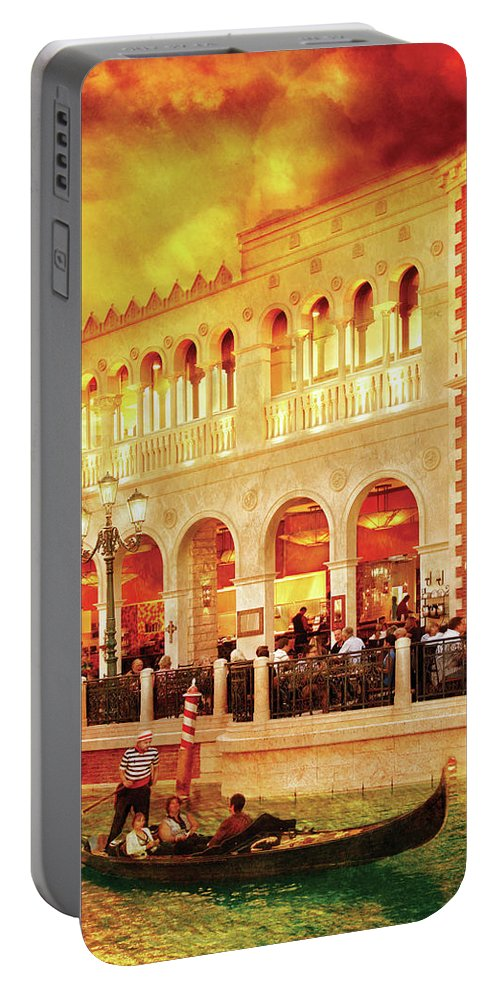 Savad Portable Battery Charger featuring the photograph City - Vegas - Venetian - Life At The Palazzo by Mike Savad